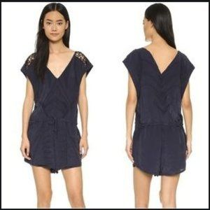 IRO Austin Romper Navy Blue embroidered 40 8 NEW